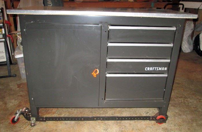 Garage:  Craftsman 4 Drawer, Galvanised Top Workbench with Adjustable Mobile Base Dolly
