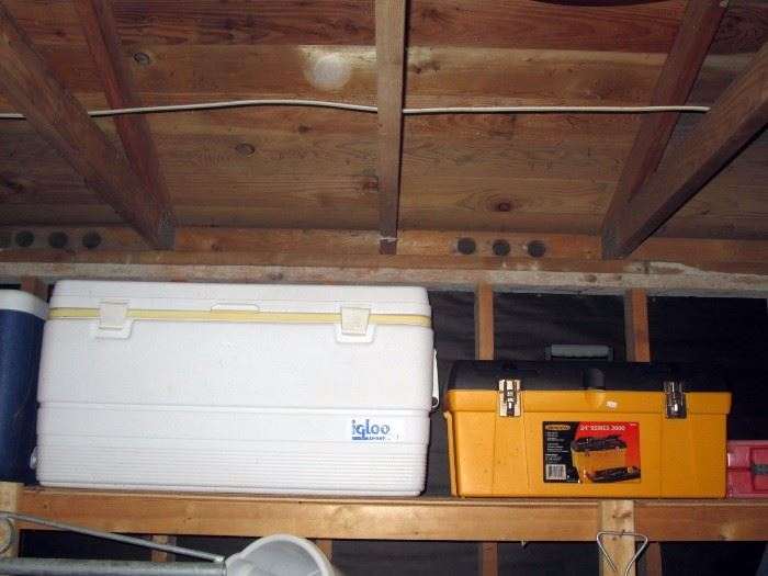 Garage:  Cooler, Tool Box