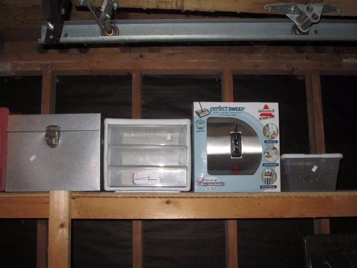 "Garage:  File box, 3 drawer storage, Bissell ""Perfect Sweep"" Storage box"