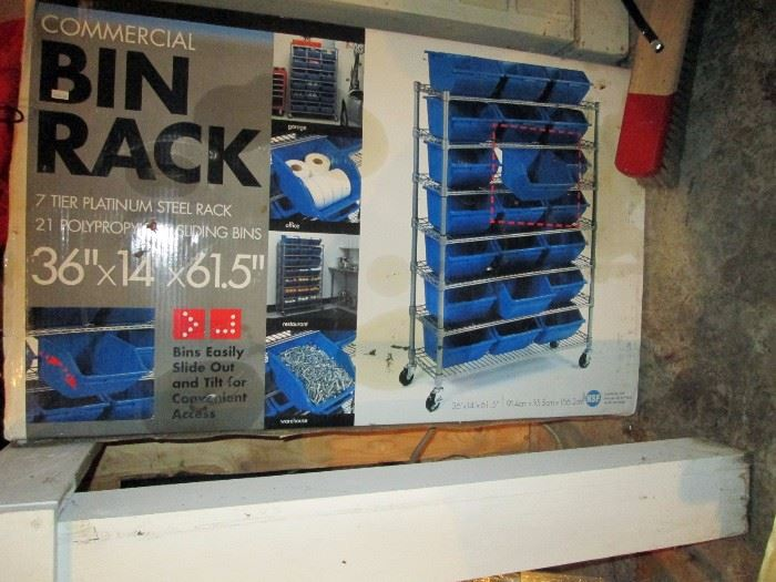 Garage:  New in the Box Commercial Bin Rack