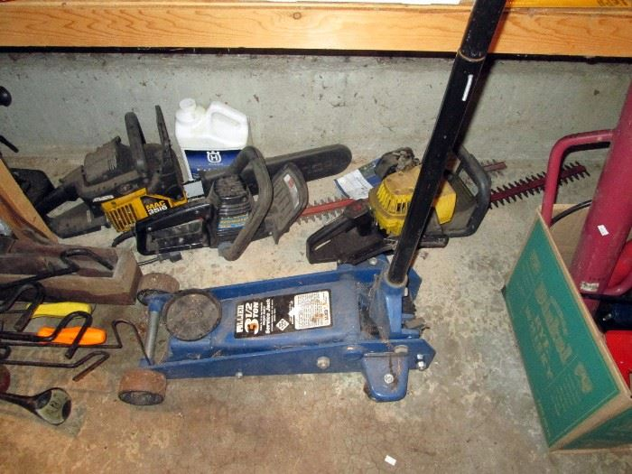 Garage:  3 1/2 ton Jack, Chain Saw, Hedge Trimmers