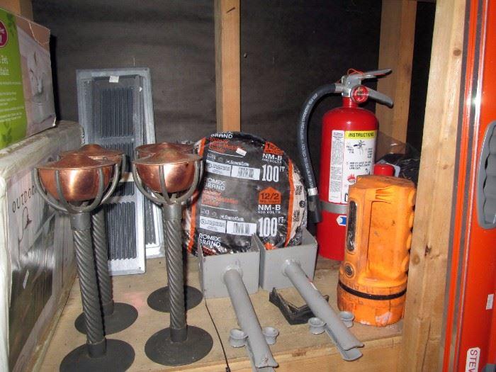 Garage:  Out Door lights, Rope, Fire Extinguisher, Flash lights