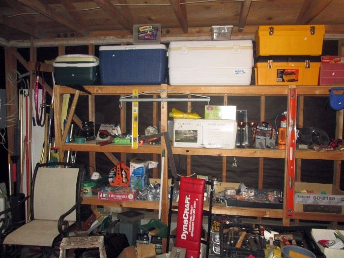 Garage:  Coolers, Tools Boxes