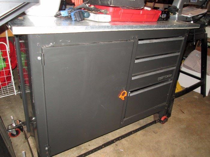 Garage:  Craftsman Work Bench on Wheels--Stainless Steel Top