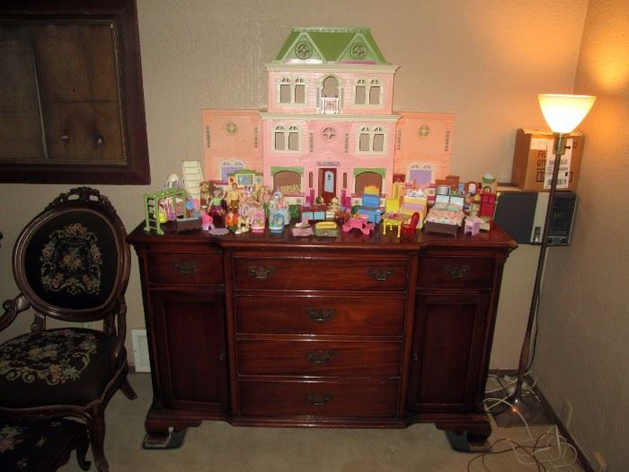 Living Room:  Fisher Price loving Family Twin Time Doll House w/Furniture,  Buffet,