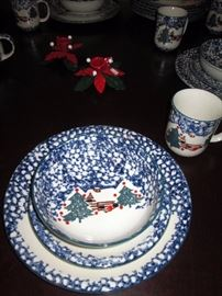 """Dining Room:  49 PiecesTienshan FolkCraft """"Cabin in the Snow"""" 12 Place Settings, 1 Gravy Boat China"""