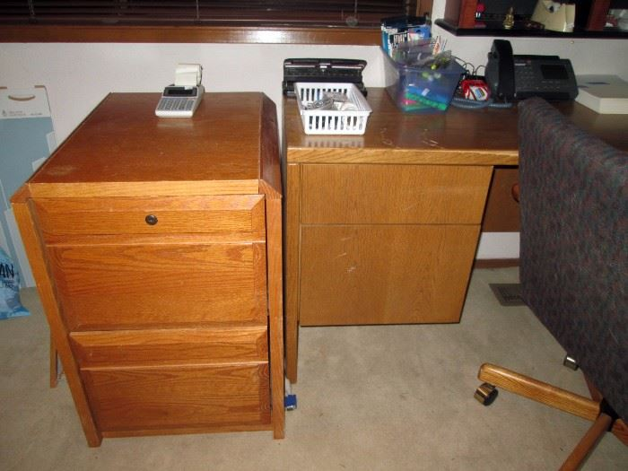 Upstairs Bedroom Right: Oak File Cabinet,