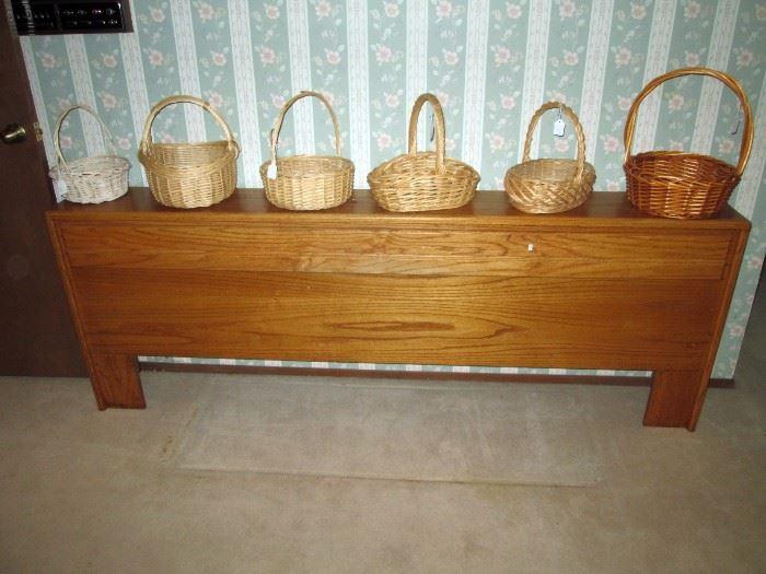 Upstairs Bedroom Left:  Oak Headboard, Baskets