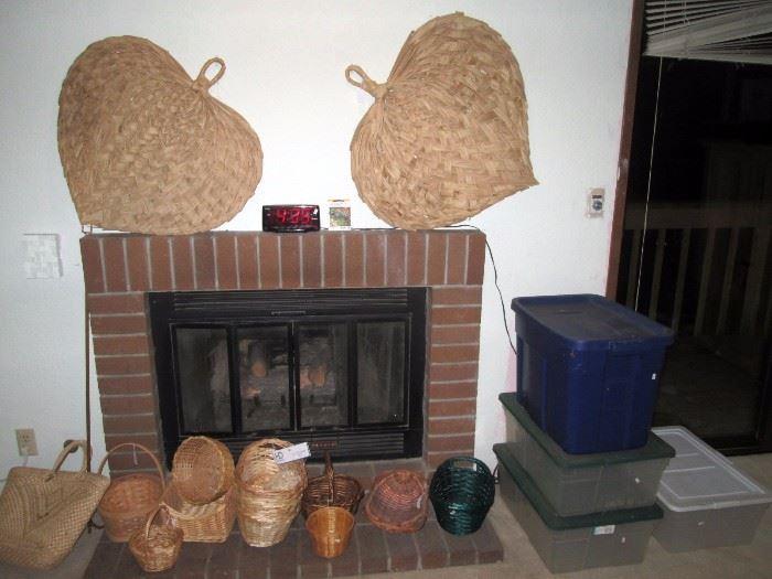Upstairs Bedroom Left: Palm Leaf Fans, Baskets. Plastic Bins
