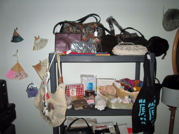 Upstairs Bedroom Left: Fans, Purses, Scarves
