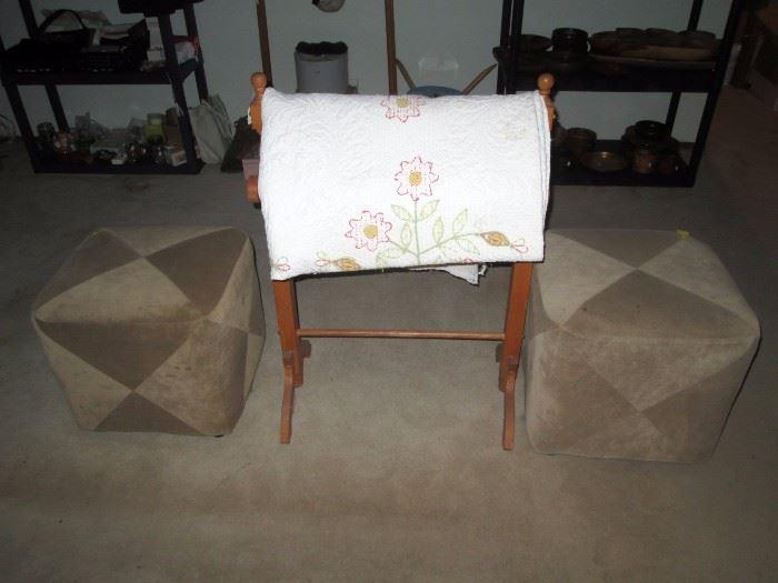 Upstairs Bedroom Left: 2 ottoman's, Quilt