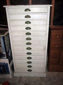 Garage:  White Cabinet (Great Vintage Piece)