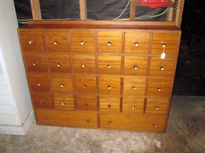 Garage:  Apothecary Cabinet 26 drawers