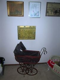 UpStairs Center Bedroom:  Baby Buggy, Pictures