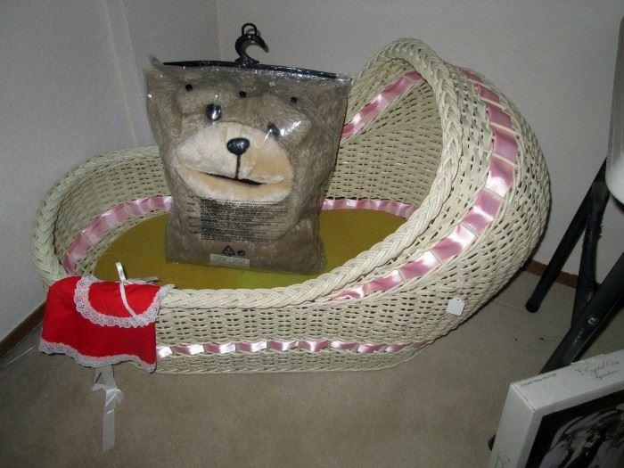 UpStairs Center Bedroom:  (Close Up) Bassinet , Animal Blanket
