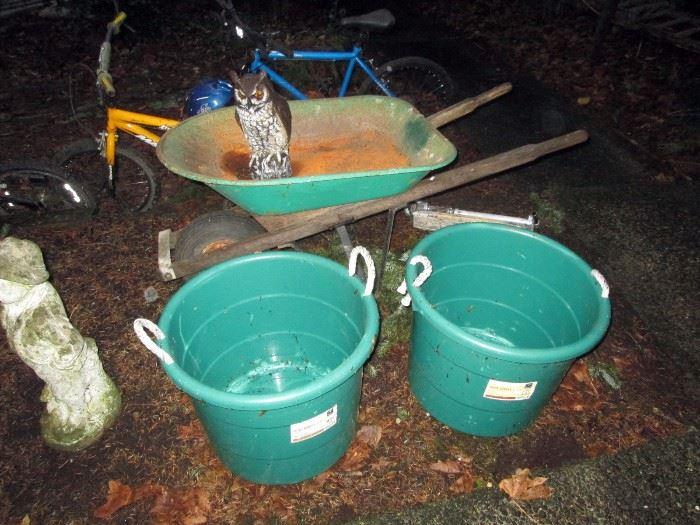 OutSide:  Wheel Barrow,  2 Buckets, Owl