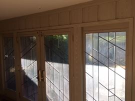 "Pewter color leaded glass 36"" each door. Sidelights 30""."