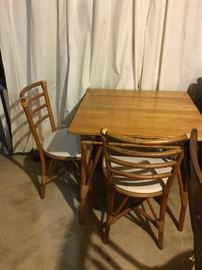 "-Table measures 29"" tall, with 30"" x 30"" top; Chairs measure 32"" tall, 17 1/2"" tall from floor to seat, 18"" wide, and 16"" deep"