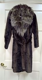 CLF5 Weiss- Full Length Astrakhan Lamb and Fox Coat with belt