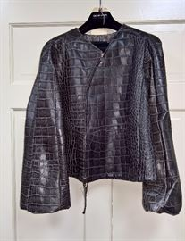 1 -  Giorgio Armani Grey Leather Drawstring Jacket    Size 40