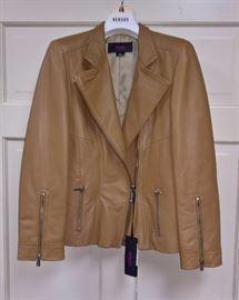 3 -   Versus  Tan Leather Biker Jacket  Size 42  Never Worn