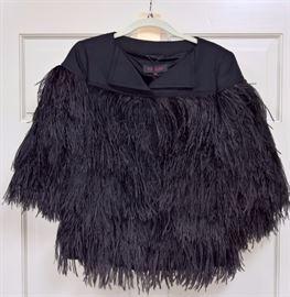 9  -  Escada   Black Ostrich Feather Short Jacket   Size 36  Never Worn