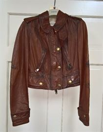14 -  Burberry  Brown Leather Jacket   Size 4