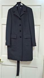 17 - miu miu   Green, Blue Checkered Coat with Belt   Size 44