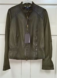 22 -  Gucci     Green Leather Jacket     Never Worn          Size 44