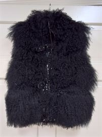 CL F6 -  Black Lamb Vest with Front Zipper and Buckles Size S
