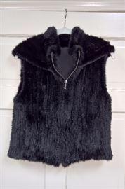 CL F8 -  Hooded Black Mink Vest    Size S