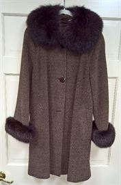 CL F11 - Wool ,Angora, Brown Coat with Fur Collar and Cuffs      Size S