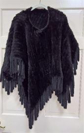 CL F13 -  Weiss  Demi Sheared Black Dyed Mink Poncho