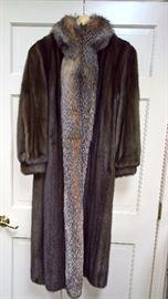 West 2 -  Brown Mink Coat with Fox Trim