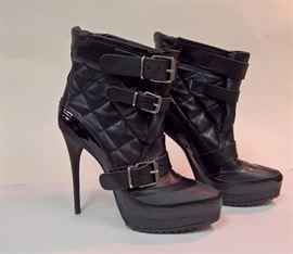 20 - Burberry Quilted Moto Black Heel Boots   Never Worn    Size 39