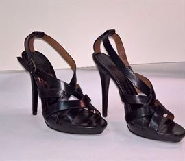 26 -  Burberry Black Leather Bridle Sandals                 Never Worn     Size 38
