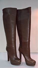 54  - Gucci    Medium Brown Leather Tall Boots Saddle Soft Fango     Never Worn   Size 37.5