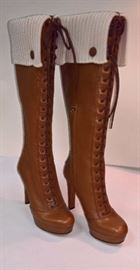 55 -  Gucci Brown Leather Lace up Boots with Wool Sweater Tops   Never Worn    Size 37