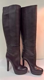 56  - Gucci  Dark Brown Leather Tall Boots   Never Worn  Size 37.5