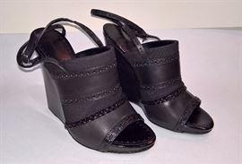 79 -  Proenza Schouler Black  Bi-fabric Wedge Sandals Never Wore     Size 38