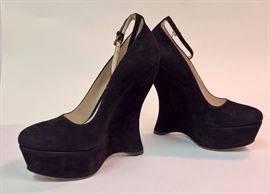 83 - Prada Black Suede Wedges  With Ankle Strap   Never Worn   Size 38