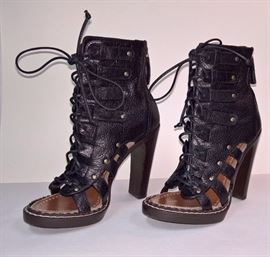 88 -  Proenza Schouler  Concord Leather Lace Up Black  Worn Once    Size 37