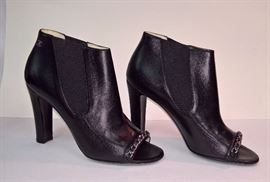89 -  Chanel Short Black Lambskin Boots  with Chain  Never Worn    Size 38.5