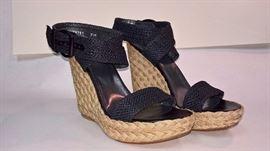 93 -  Stuart Weitzman   Alex Crochet Wedges Black  Never Worn  Size 8