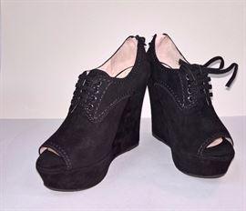 96 - miu miu Camoscio  Black Suede Boots   Never Worn  Size 37.5