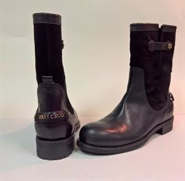 97 - Jimmy Choo  Dante Suede & Leather Black Boots   Never Worn    Size 37.5