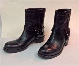 98   Jimmy Choo  Dixie Shinny Calf Black Biker Boots   Never Worn   Size 37.5