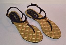71 - Chanel Black Gold Quilted Bottom Flat Sandals    Never Worn    Size 38