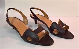 GA - Hermes  Brown Constance Sandles   Worn  size 39