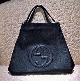GA   Gucci Black Horsebit Large Hobo Bag